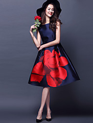 Women's Red Flower Vintage Swing Midi Dress
