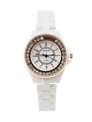 Women's Luxury Fashion Diamond Circular Dial  Ceramic Strap  Quartz Movement Wrist Watches