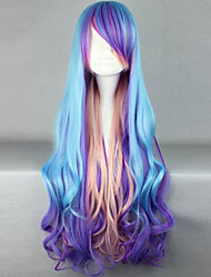 The New Wig Anime Characters Red Color Multicolor Mixed Long Curly Hair Wigs