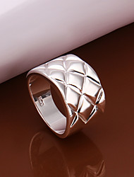 European Style Round Shape Silver Plated Ring(Silver)(1Pc)