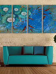 e-home® lona esticada arte koi na lagoa set decoração pintura de 4