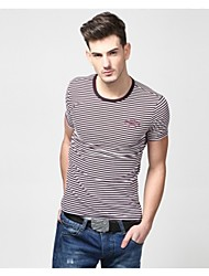 U&Shark Men's Fine Cotton Short Sleeve T- Shirt with Round Collar and Grey Stripe /TX1021