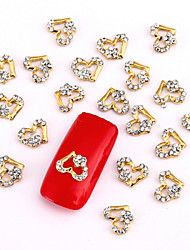 10PCS Gold Nail Art Jewelry Golden Heart White Rhinestones Aryclic Nail Tips Decorations Nail Art Glitters for Nails