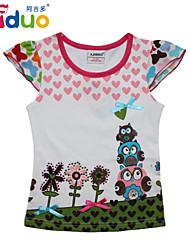 Ajiduo 1-6Y Little Girls' Flowers Love Hearts Print Cute Short Puff Sleeve Top T-shirts