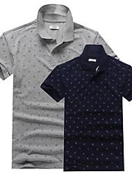 Men's Short Sleeve Polo , Cotton Casual/Work/Formal/Sport/Plus Sizes Print