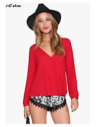 Milaieshow Women's  V Neck Long Sleeve Regular  Blouse