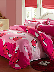 Yuxin®Aloe Brushed Cotton Bedding a Family of Four   Active Printing Single or Double Quilt    Bedding Set