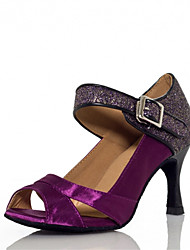 Women's Dance Shoes Latin Satin Flared Heel Black/Purple/Ivory
