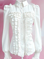 Long Sleeve White Polyester Classic Lolita Blouse with Ruffles