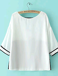 Women's Summer Sexy Backless White and Black Harf Sleeve Chiffon Blouse