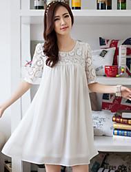 Women's Red/White/Black Dress , Cute U Neck ½ Length Sleeve Lace/Pleated