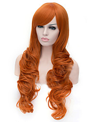 European And American Fashion Orange  Inclined Bang Curly Hair Wig