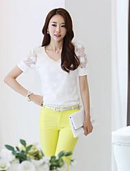 Women's Lace White Blouse , V Neck Short Sleeve