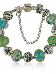 Women's New Charm Bracelet With Green Exquisite Glass Bead Safety Clasp Mother's Day Gift