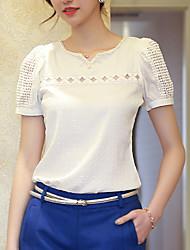 Women's V Neck Lace Chiffon Puff Sleeve Blouse