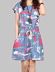 Women's Casual Print Loose Short Sleeve Above Knee Dress