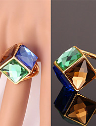 Fancy Luxury Multicolors Fancy Stone Band Ring 18K Real Gold Plated Statement Ring Shiny Jewelry for Women High Quality