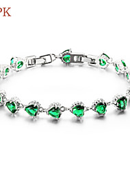 OPK®Beautiful Green Diamond AAA Zirconium Ms Drill Copper Plating Platinum Bracelet Gift(Stochastic Models)