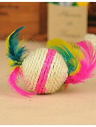 Sisal Ball Shape with  Colorful Feathers Cat Scratch Toys