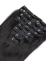 "100g/lot 16""-22"" Clip In Human Hair Extensions #1 Jet Black Straight 8pcs/set Clip Hair Pieces"