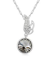 ondas viento collar corto plateado con platino verdadero 18k diamante negro cristalizó piedras de cristal austríaco