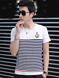 Men's Round Collar Stripe Printing Short Sleeve T-shirt
