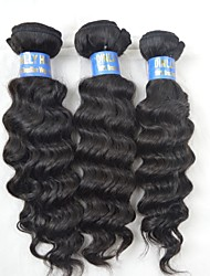 "3Pcs Lot 10""-28"" 6A Peruvian Human Virgin Hair Wefts Natural Black Remy Fine Hair Weave Wavy Bundles Real Hair"