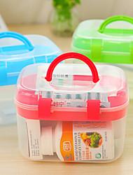 20cm plastique transparent titulaire boîte de médecine de soins de santé de cas clair blanc (couleur aléatoire)