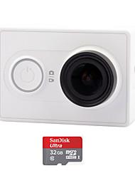 Xiaomi xiaoyi 1080p 16MP CMOS câmera filmadora esportes / wi-fi / bluetooth 4.0 - branco (tf 32gb)