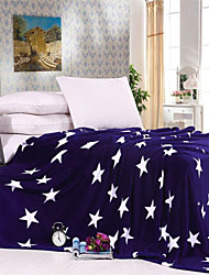 Light Soft Fabric Blue Stars Throw Blankets Coral Fleece