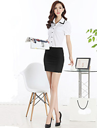 Mulheres Saias Mini Bodycon/Trabalho/Plus Sizes Poliéster Micro-Elástica Mulheres