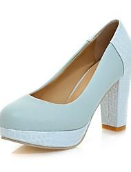 Chaussures Femme - Habillé - Bleu / Rose / Blanc - Gros Talon - Talons / A Plateau / Bout Arrondi - Talons - Similicuir