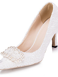 Women's Shoes Lace Stiletto Heel Heels/Pointed Toe Pumps/Heels Wedding/Party & Evening Ivory/White