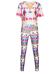 Women's Multi-color Jumpsuits , Bodycon Short Sleeve