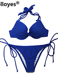 Colloyes Women Royal Blue Add-2-Cups Halter Top Set with Push-up Molded Cups Adjustable Halter Straps Bikinis Swimwear