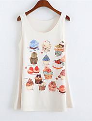 Women's Round Collar Cake Print Tank Top