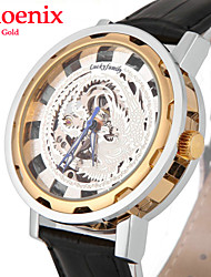 Men Mechanical Automatic Watch Gold Silver Dragon Hollow Skeleton Leather Band Wrist Watch Man (Assorted Colors)