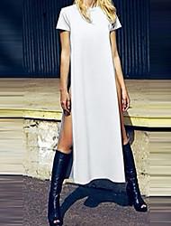 Women's Round Dresses , Cotton Beach/Casual Short Sleeve SASA