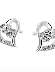 kiki 925 Silber herzförmigen Ohrringe koreanische Art und Weise Mode