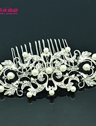 Neoglory Jewelry Imitation Pearl and Clear Rhinestone Hair Comb Tiara Pin for Lady Wedding/Daily/Pageant