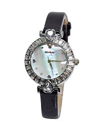 alta de quartzo shell pulseira de couro confortáveis senhora discar cristal brilhante relógios dc-51037