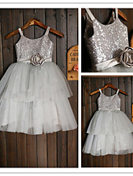 A-line Tea-length Flower Girl Dress-Tulle / Sequined Sleeveless