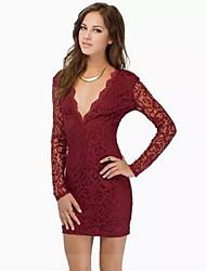 Y.L.C  Women's Casual V-Neck Long Sleeve Dresses (Cotton Blend)
