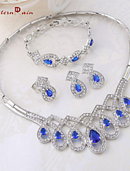 WesternRain African Alloy High Bridal Jewelry Quality Blue beads jewelry set silver jewelry For Wemon