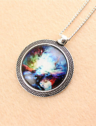 Vintage/Casual Silver Plated/Alloy Star Time Stone Pendant Necklace