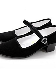 Women's Dance Shoes Old Peking Performance Suede Chunky Heel Black