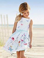 Menina de Vestido Verão Algodão Sem Manga Menina de
