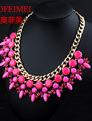 European and American jewelry items alloy resin flower pendant necklace gemstone jewels