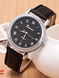 bande de cuir quartz analogique alston hommes de montre décontracté (couleurs assorties)