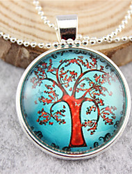 Casual Silver Plated/Alloy Round Tree Of Life Pendant Necklace